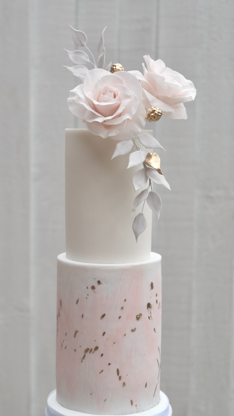 Watercolour and spatter wedding cake