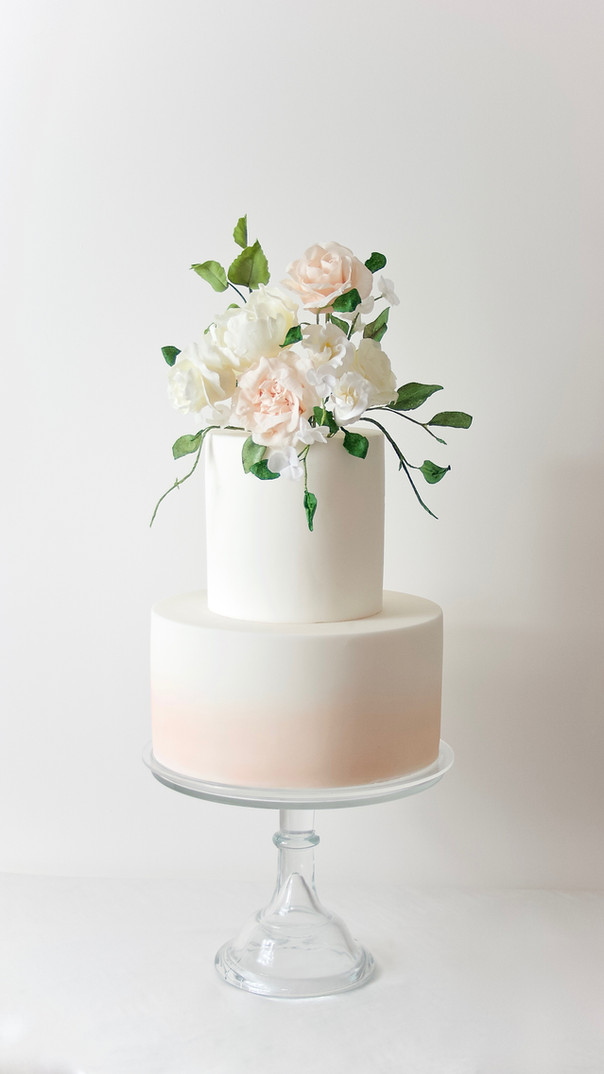 Peaches and Cream Wedding Cake