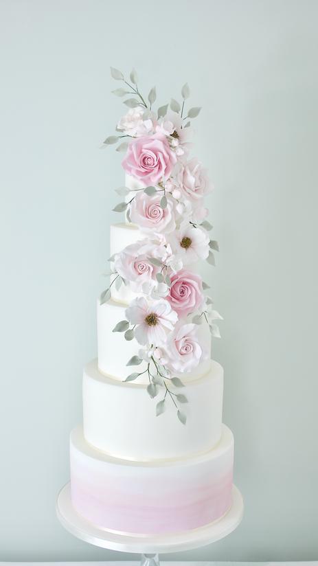 Watercolour cascade sugar flower cake