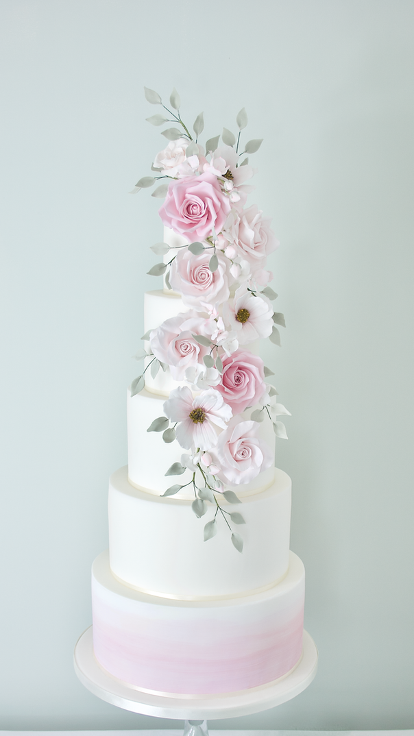 Watercolour cascade sugar flower cake