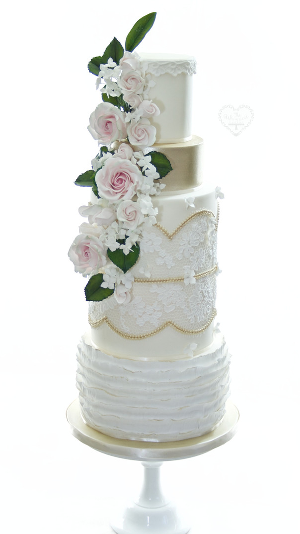 Ruffles and Lace Wedding Cake