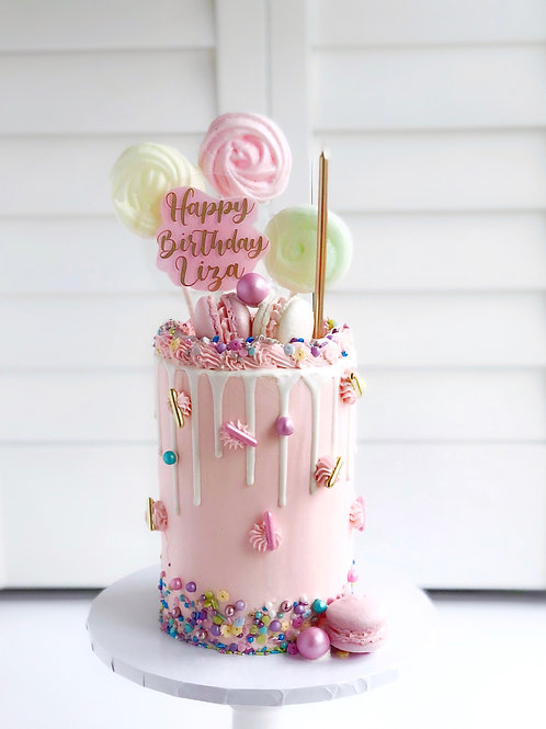 Meringue Lollies and Macarons Drip Cake COLLECTION ONLY