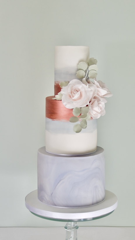 Copper watercolour wedding cake