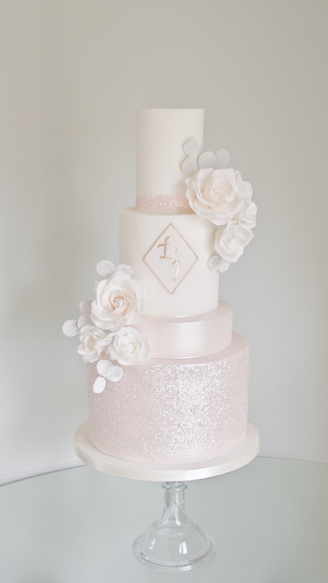 Blush Sparkle Wedding Cake