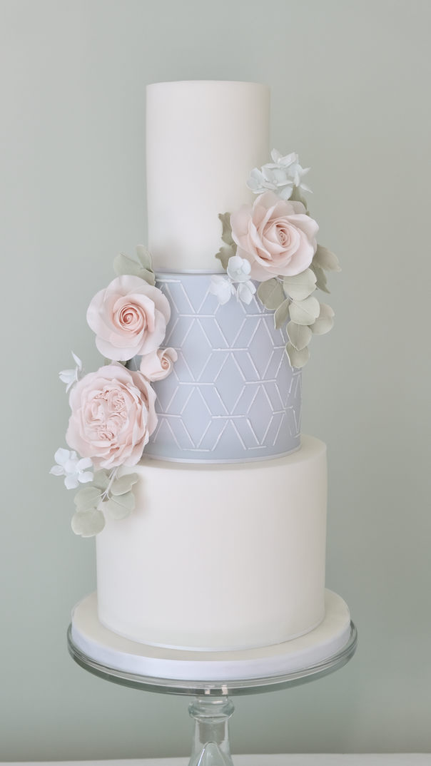 Geometric soft blue wedding cake