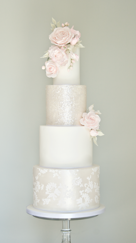 Four-tier classic romance wedding cake