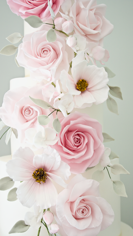 Watercolour cascade wedding cake flowers