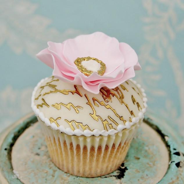 Gold Script Cupcake