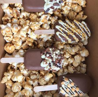 Chocolate Cakesicle Popcorn Box