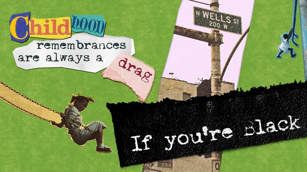 """Collage style image reading """"Childhood remembrances are always a drag if you're black"""""""