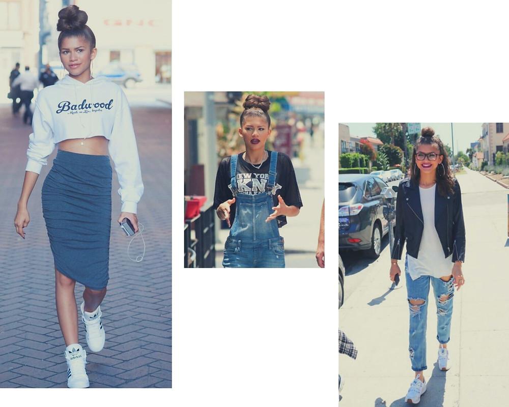 Zendaya em três looks da moda casual