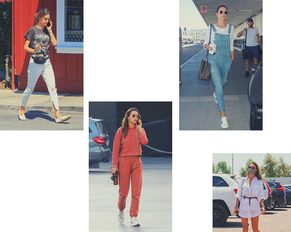 Alessandra Ambrosio em quatro looks da moda casual