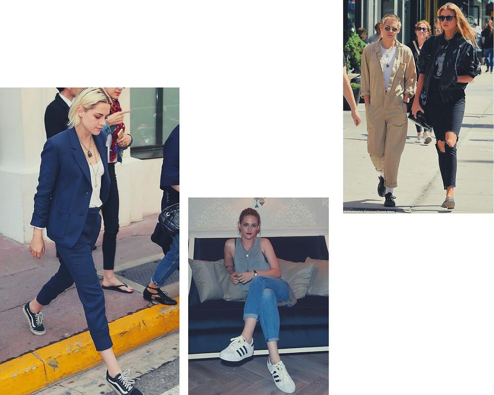 Kristen Stewart em três looks da moda casual.