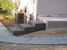 concrete steps ease your way up to the patio.