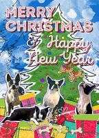 Boston Terrier Chrismas Card Illustration