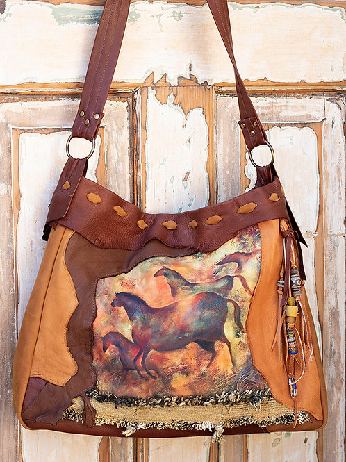 Leather handbag with original art