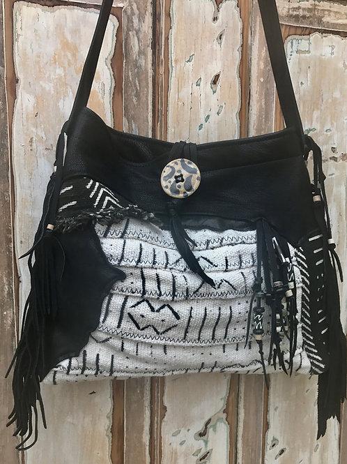 Deerskin and African Mudcloth Handbag
