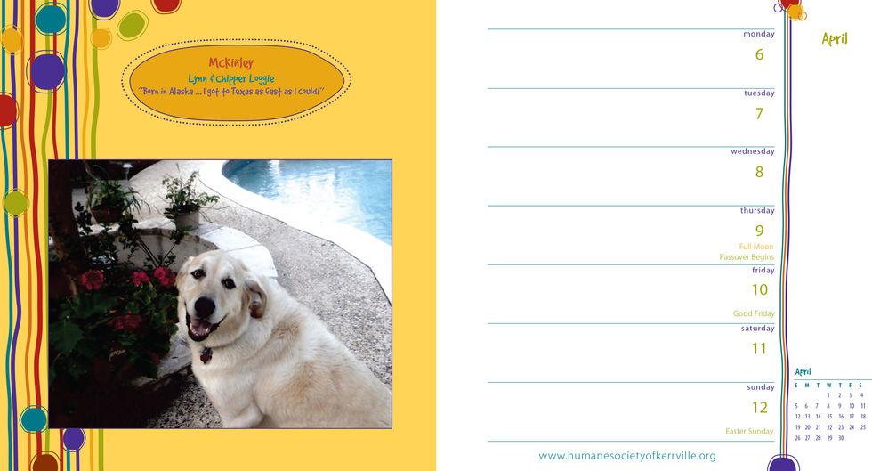 Humane Society Calendar Page