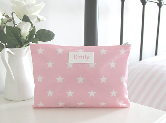 Pink Star Wipe Clean Wash Bag