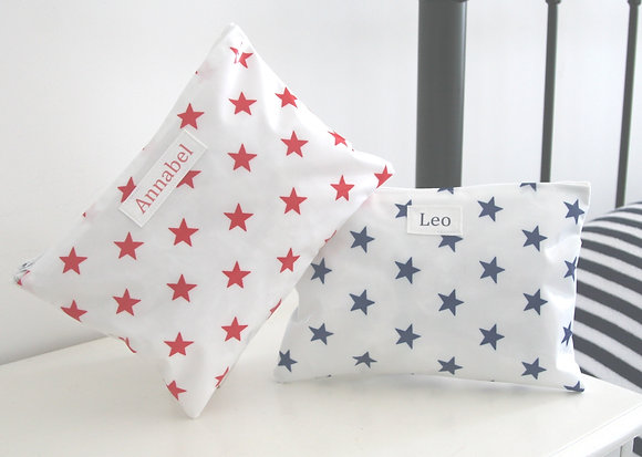Star Personalised Wipe Clean  Wash Bags