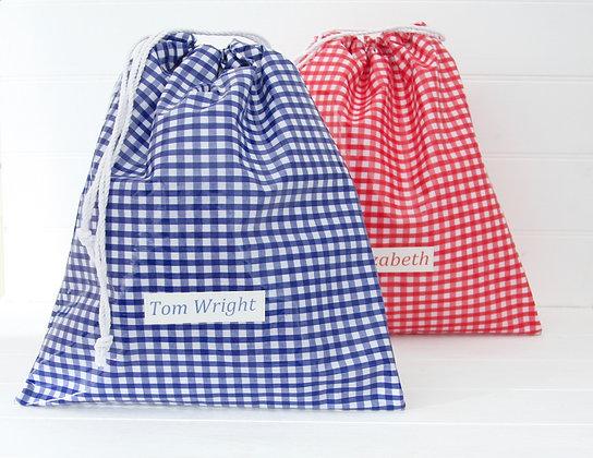 Gingham Wipe Clean School Kit Bag