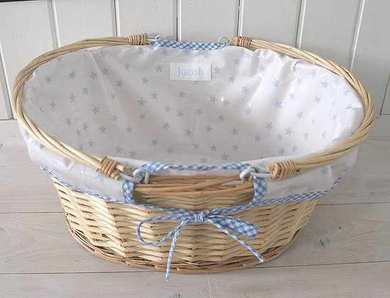Wipe Clean Lined Wicker Changing Basket