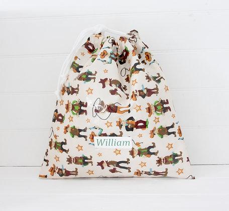 Cowboy Wipe Clean Drawstring Kit Bags