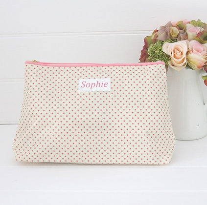 Pink Polka Dot Wash bag