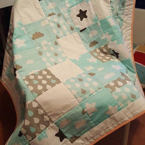 yıldız desen kareli pathcwork bebek battaniyesi