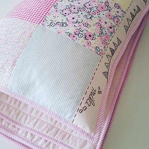 kareli patchwork bebek battaniyesi