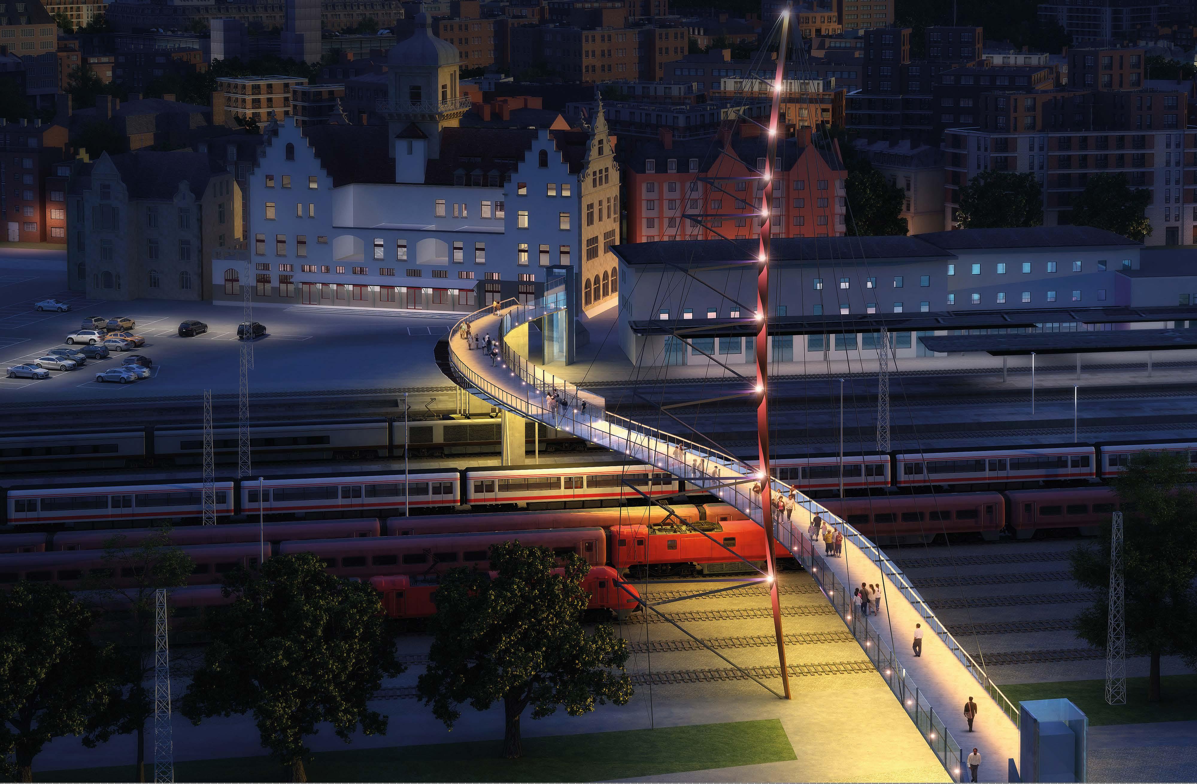 Heilbronn Fußgängerbrücke Neckarvorstadt