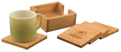 """4"""" x 4"""" Bamboo Square 4-Coaster Set with Holder"""