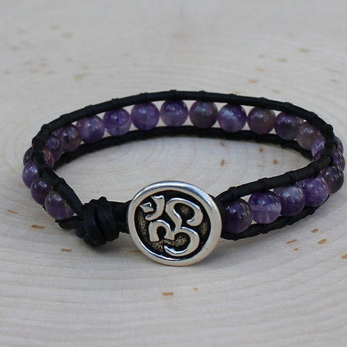 Amethyst with Om Button