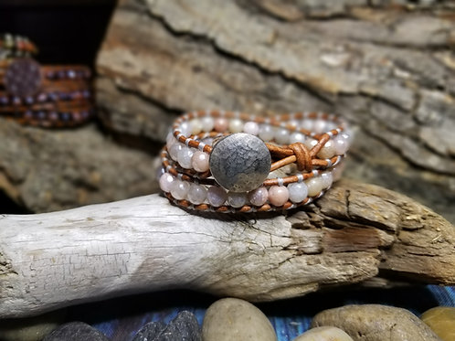 Titanium Coated Moonstone with Hammered Silver Button