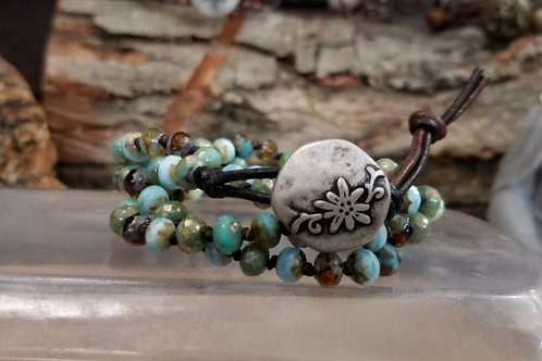 Turquoise Czech Bracelet/Necklace with Rustic Floral Button