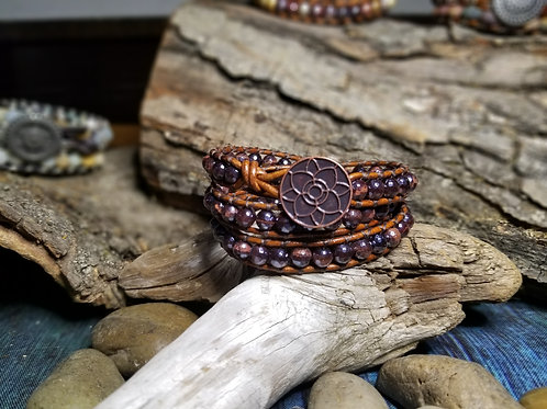 Red Tigers Eye with Lotus Button