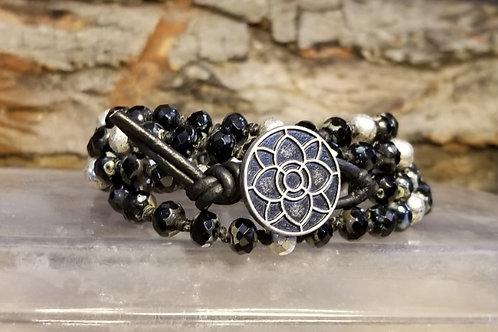 Black and Silver Czech Bracelet/Necklace