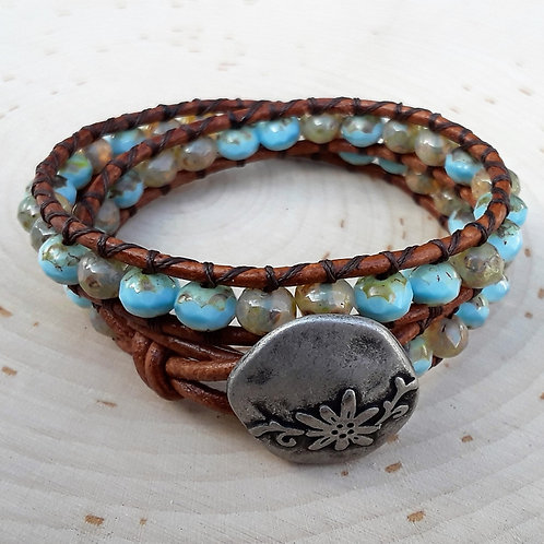 Tan and Turquoise Czech Glass with Rustic Floral Button