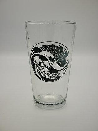 Koi Yin Yang Pint Glass