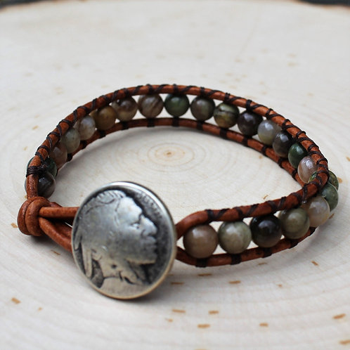 Silverleaf Jasper with Indian Head Button