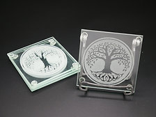 Celtic Tree Of Life Glass Coaster Set
