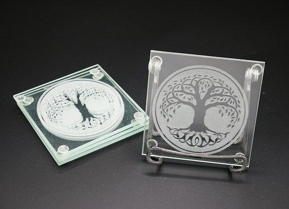 Celtic Tree Of Life Glass Coaster Set