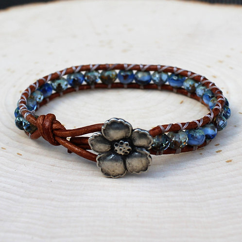 Blue Czech Glass and Hibiscus Button
