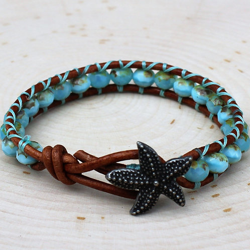Turquoise Czech with Silver Starfish Button