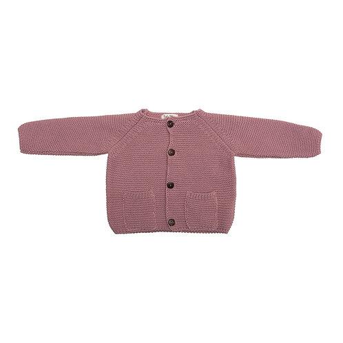 Chaqueta bolsillos punto color rosa viejo