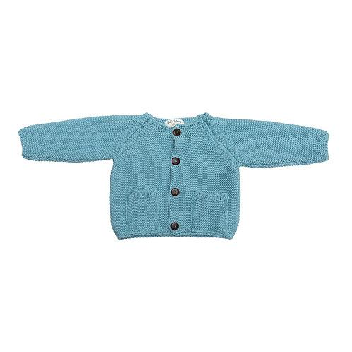 Chaqueta bolsillos punto color azul canal