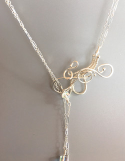 Crystal Elegance Lariat with Sterling Silver Chain and Swarovski Crystals