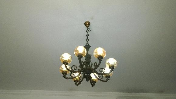 Lustre em bronze, 8 lâmpadas