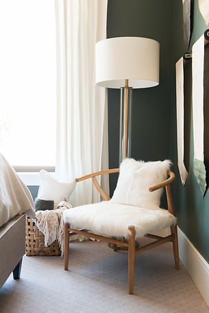 hair on hide chair, guest room, mapleton parade, pewter green paint.