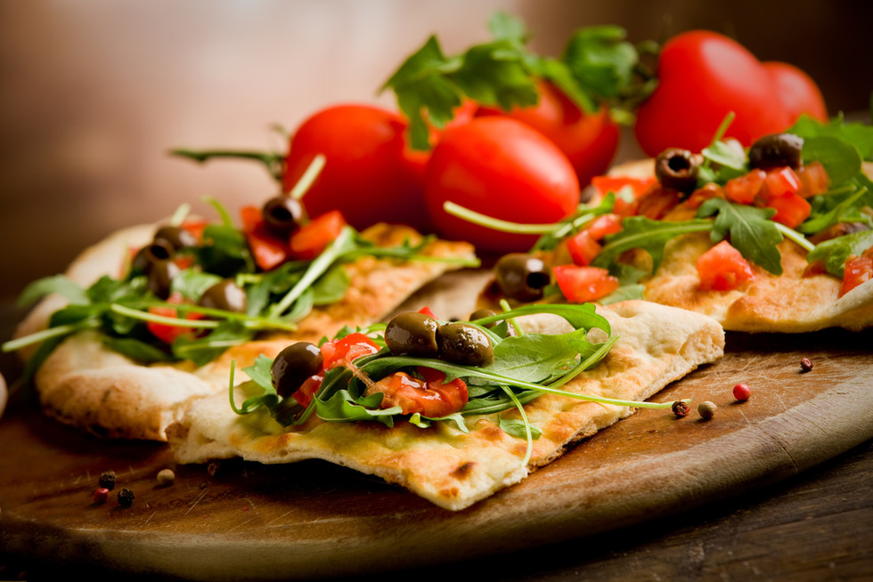photo of delicious vegetarian pizza with